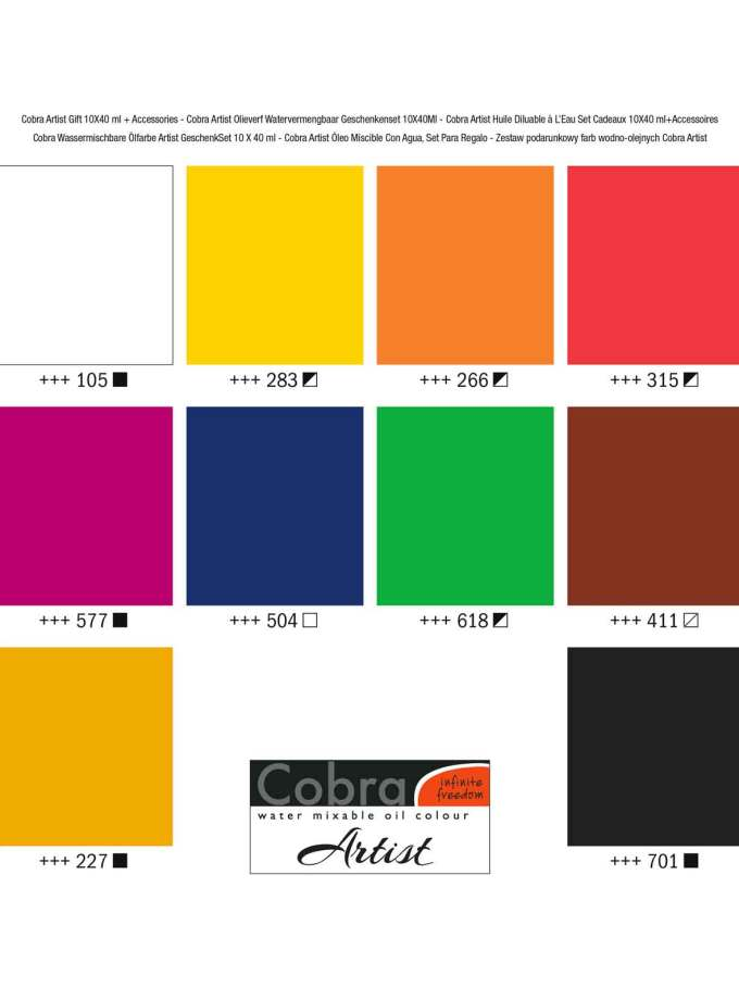 set-10x40ml-Gift-Pack-cobra-artist-oil-Ladoxroma-Nerou-Talens-Art&Colour-Colorcard