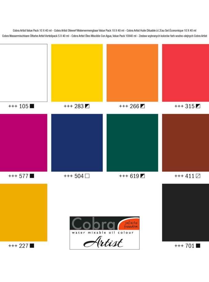 set-10x40ml-cobra-artist-oil-Ladoxroma-Nerou-Talens-Art&Colour-Colorcard