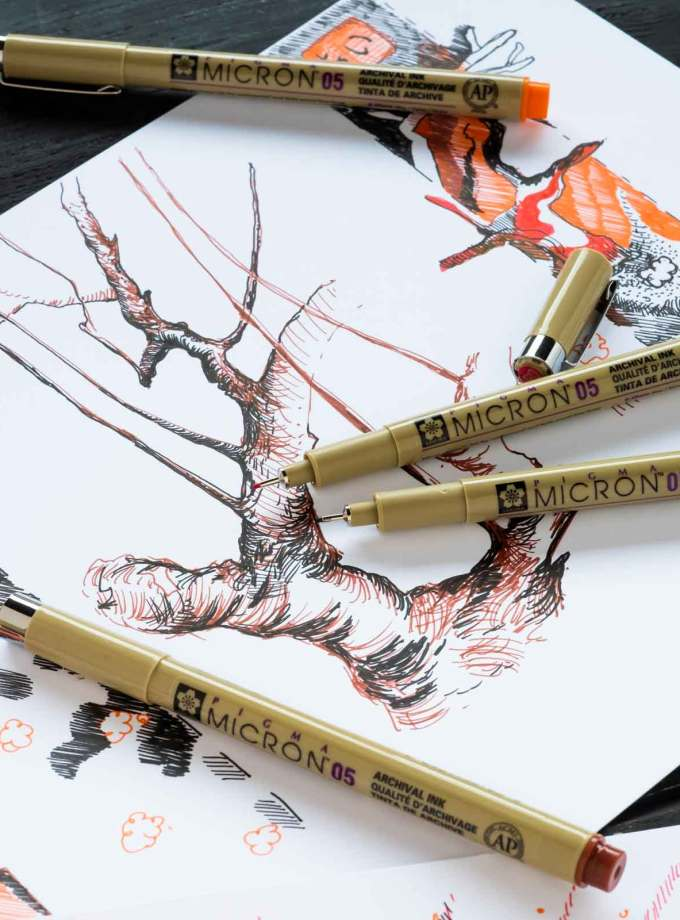 set-4-markadorakia-pigma-micron-fineliners-VanGogh-Museum-Sakura-Art&Colour