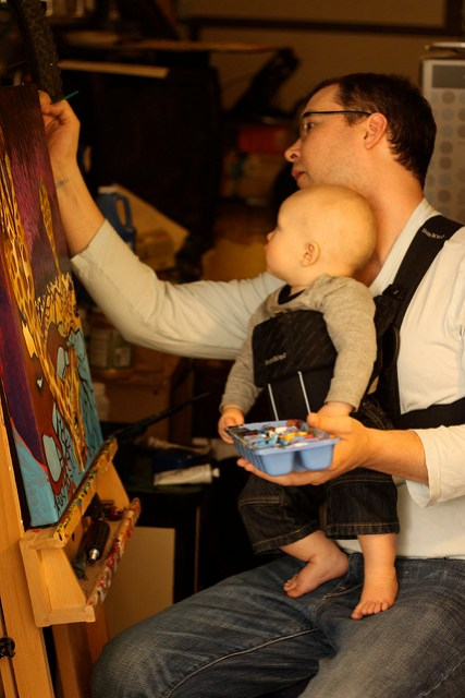 Baby and Dad Painting