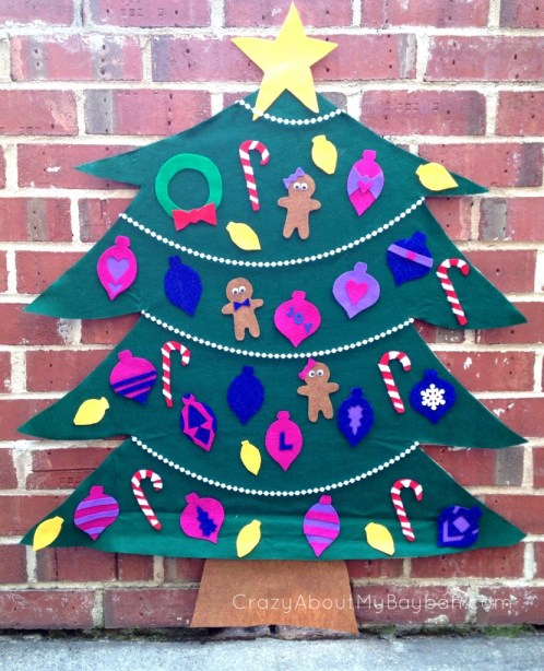 DIY Felt Christmas Tree - 25 Winter and Christmas Crafts for Kids #Toddlers #Preschoolers #Homeschool