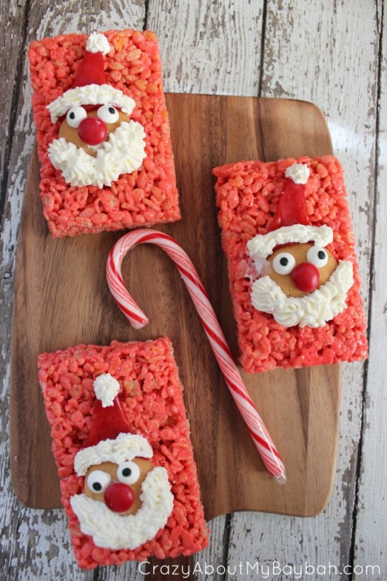 Santa Rice Krispie Treats #Recipe #Christmas #Santa