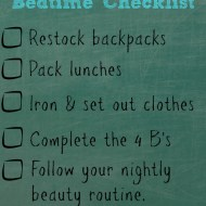 Back to School Bedtime Checklist