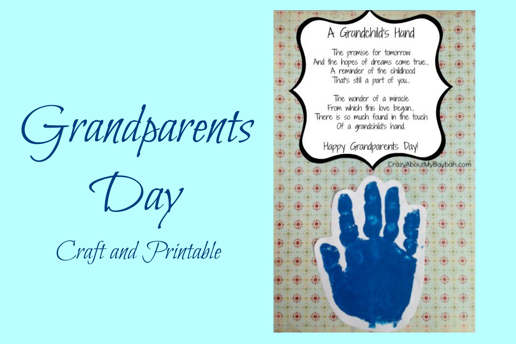 photo regarding Printable Hand referred to as Simple Grandparents Working day Crafts for Small children Handprint Craft