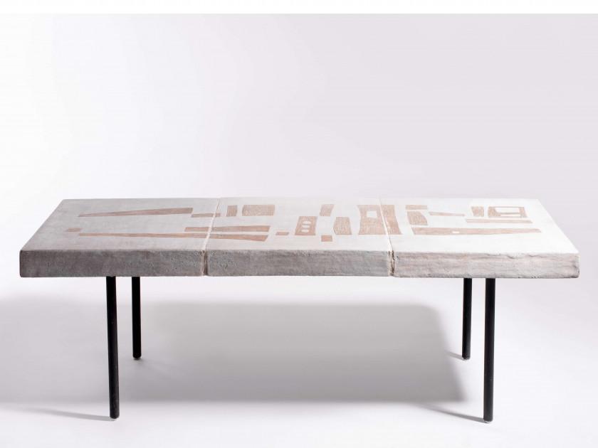 andre borderie 1923 1998 table basse circa 1960 pietement metal laque noir