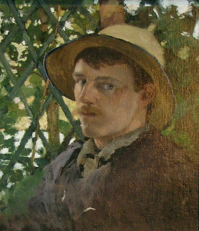 Will Hicock Low (1853-1933), Self-Portrait at Montigny, 1876. RLS met him in 1875 in France, and they spent time together in Paris, and the artist communities around Fontainebleau [www.artcyclopedia.org]