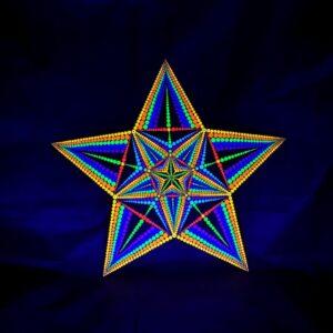Pyhä tähti yksilöllinen UV-pistemaalaus (tähden muotoinen 50cm x 50cm)