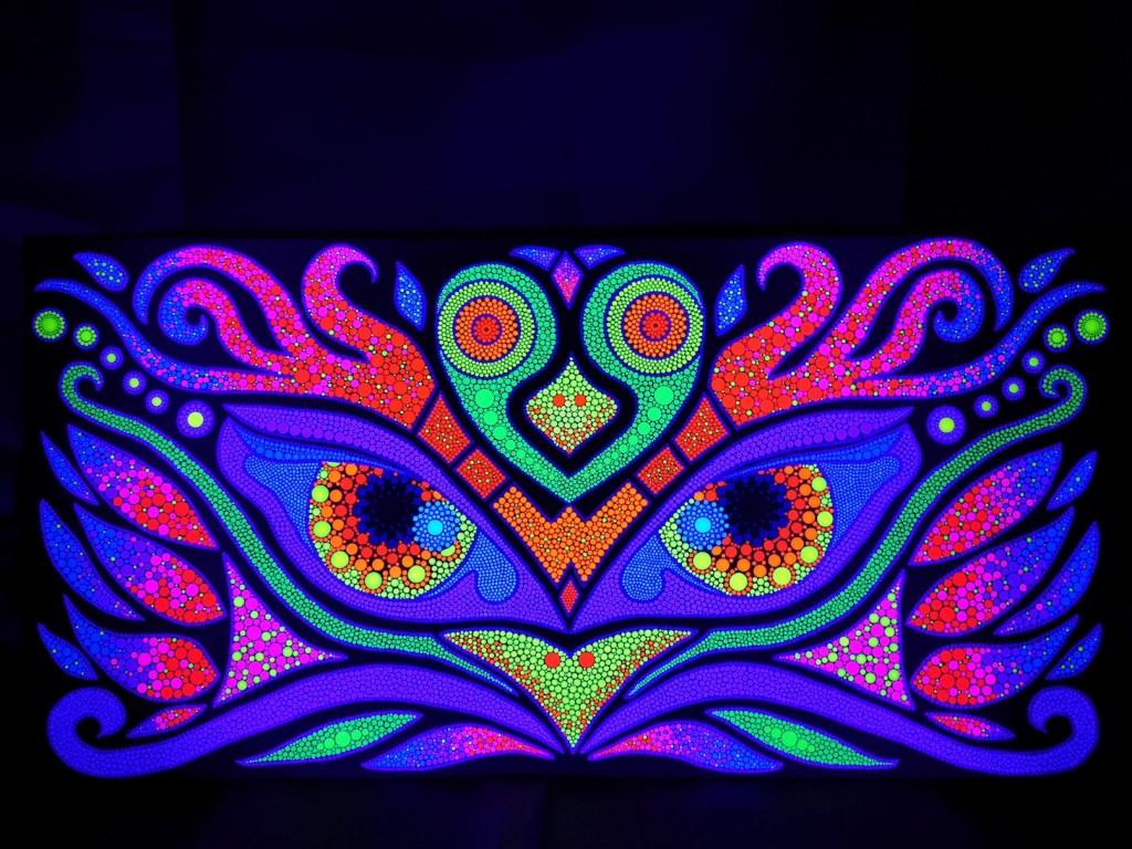 Magic Owls Uv Dot Painting On Wood