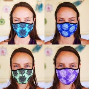 Paquete de 4 máscaras faciales reutilizables de moda (1 mandala 4 colores) Paquete 10