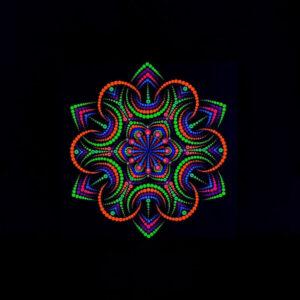 Yö kukka yksilöllinen UV-pistemaalaus (20 cm x 20 cm kangas)