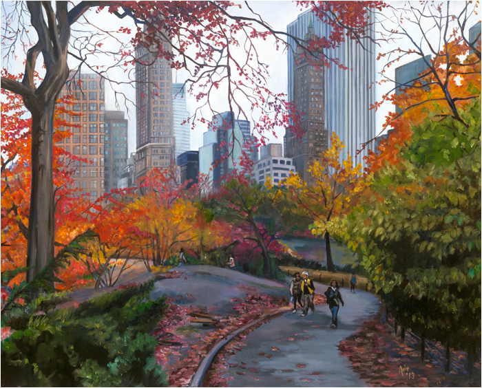 Art de Joie New York City Oil Painting  Central Park Stroll Paintings from New York  Central Park Stroll