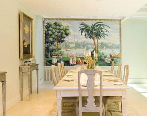 Landscape with palm trees and boats mural in elegant dining room