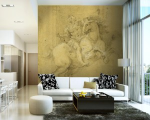 Rider on a horse mural in roman custome and distressed walls