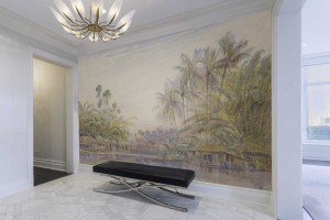 Island houses with palm trees landscape mural with a watercolor feeling