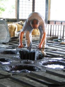 Indigo dyeing fabric