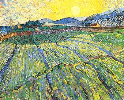 """Vincent van Gogh, """"Wheat Field with Rising Sun (Campo di grano al sorgere del sole)"""", 1889, Collezione privata"""