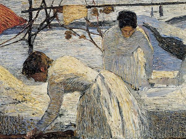 Carlo Fornara, Le lavandaie, 1898, olio su tavola, 27 x 57 cm.