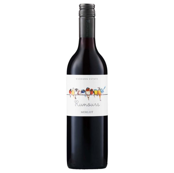 Warburn Estate Rumours Merlot, Australia. Colour: Deep red. Nose: Lifted red berry and spice aromas. Nose: Flavoursome palate of cherry, raspberry complemented with smooth lengthy tannins.