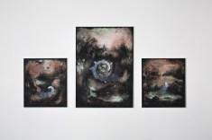 Thomas Scalco, Senza titolo, trittico, 2016, acrilico su tela, 125x110 cm, 205x145 cm, 100x100 cm