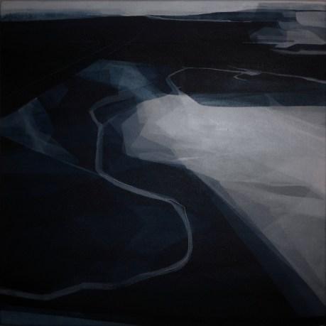 Discorsi, 2015, cm 50x50, acrilico acquerellato e tessiture su tela