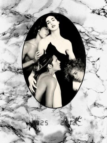 Belli da morire, 2006, cm 30x40, composizione a mano, figure ritagliate da riviste inserite nell'ovale finto marmo ritagliato precedentemente, scatti analogici, pellicola 35mm BN, scannerizzazione per stampa digitale fine art