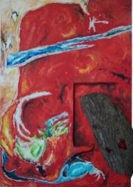 Mai stanco - a margine dell'insolente clamore, 2016, cm 90x130, acrilico, corteccia e ferro su faesite