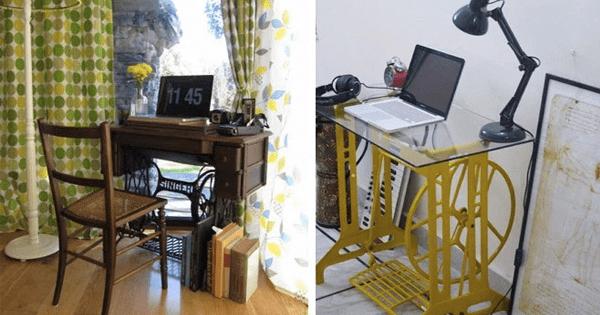 40 máquinas de costura antigas usadas como decoração