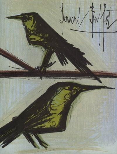 """Bernard Buffet """"Bird Couple"""" Original Lithograph 1968"""