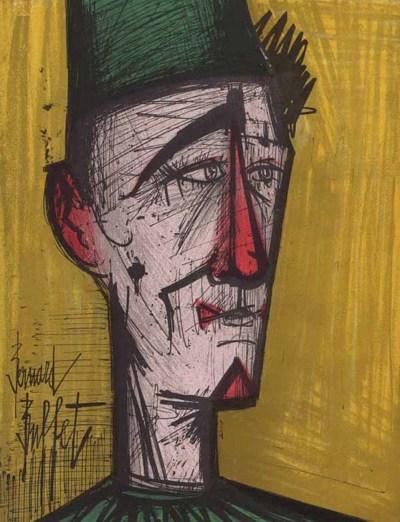 """Bernard Buffet """"JoJo The clown"""" Original Lithograph 1968"""