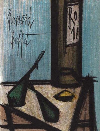 """Bernard Buffet """"Still life with a bottle"""" Original Lithograph 1968"""