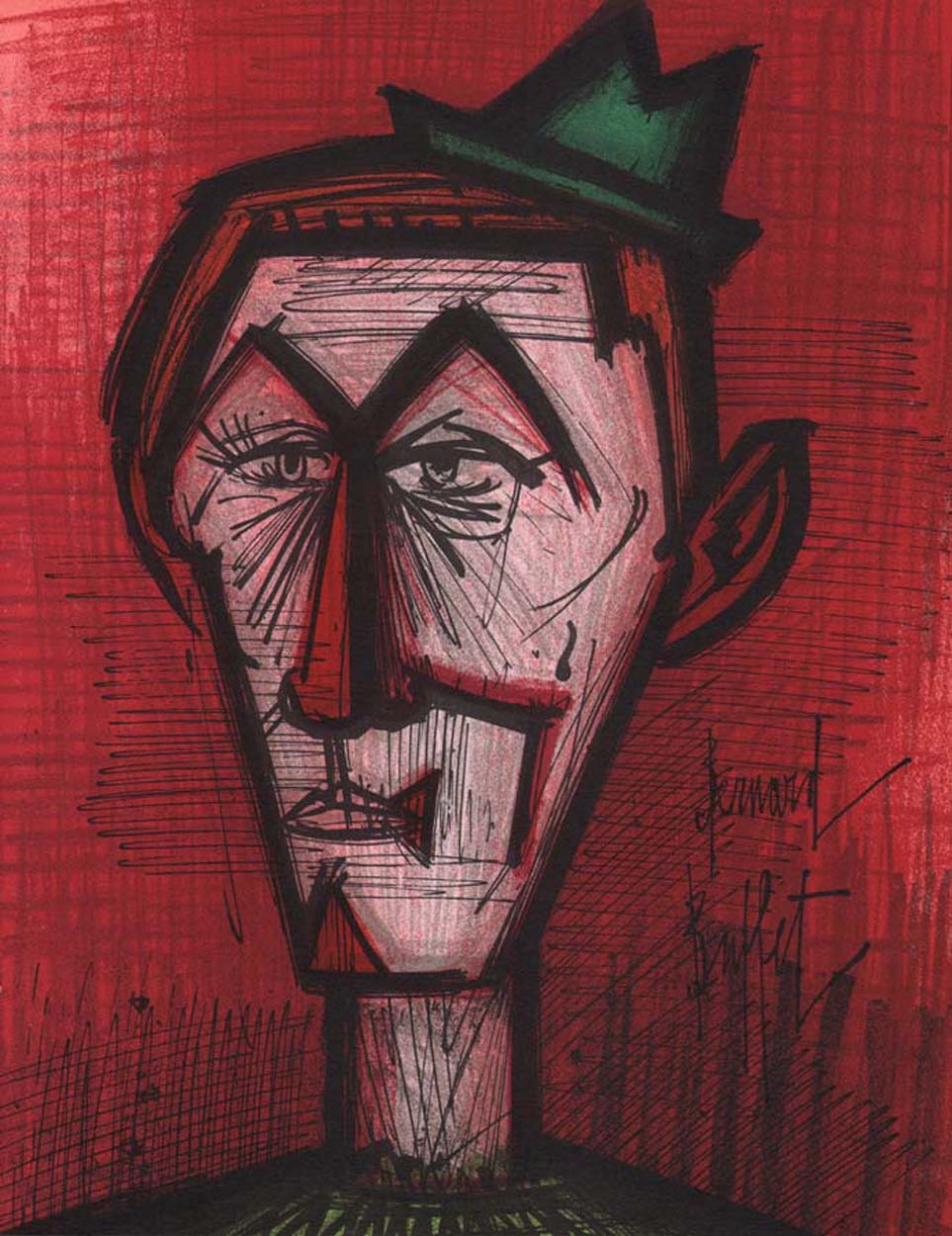 Cool Bernard Buffet The Clown On Red Background Original Lithograph 1968 Artebonito Interior Design Ideas Apansoteloinfo