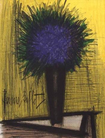 """Bernard Buffet """"The purple bouquet of flowers"""" Original Lithograph 1968"""