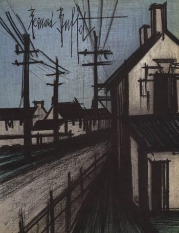 """Bernard Buffet """"The village road""""Bernard Buffet, The village road, original Lithograph 1968"""