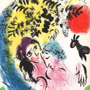 Chagall Lithograph Les amoureux au soleil rouge