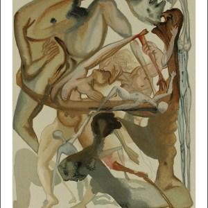 Dali Woodcut, On edge of seventh circle-Hell 11