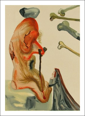 """Salvador Dali Woodcut """"Hell 18 -The fraudulent ones"""" suite Divine Comedy"""