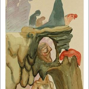 Salvador Dali Woodcut, The prevaricators - Hell 22