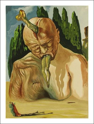 "Salvador Dali Woodcut Hell 27 -The devil logician"" suite Divine Comedy"