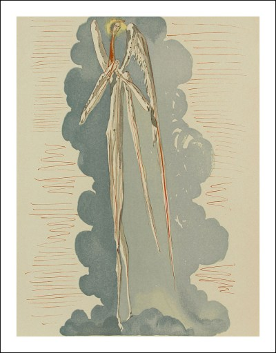 "Dali Woodcut ""Paradise 22 - Angel of the seventh heaven"" Divine Comedy"