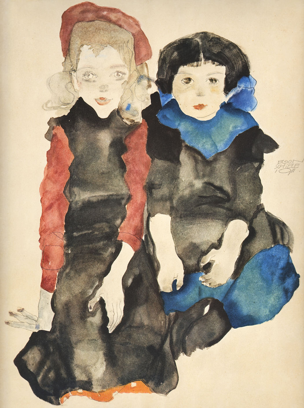 Schiele 20, Lithograph The Two Girls, 1968