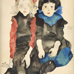 Schiele Lithograph 20, The Two Girls, 1968