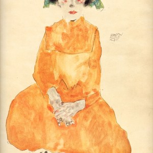 Schiele Lithograph 21, Girl in Yellow Dress, 1968