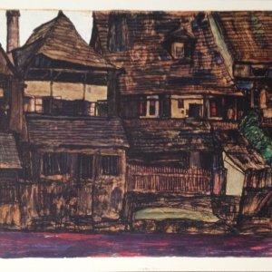 Egon Schiele Lithograph 12, House in Krumau, 1968