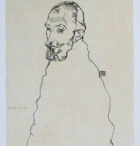 Schiele Lithograph 39, Portrait of Franz Hauer