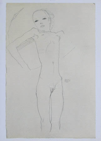 "Schiele Egon, 22, Lithograph, ""Nude Girl"" printed 1968"