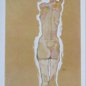 Schiele Lithograph 9, Nude Standing Back Side, 1968