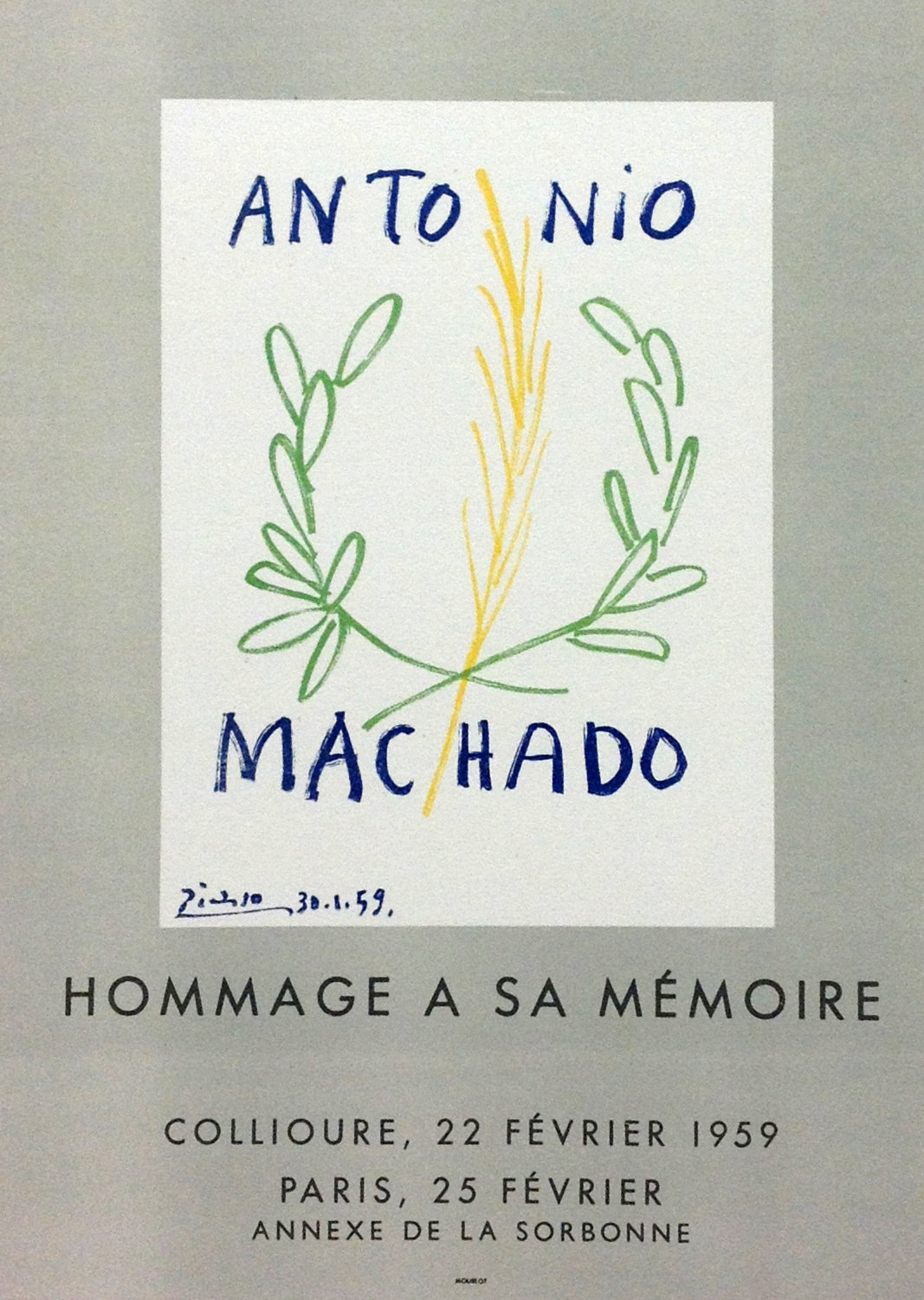 """Picasso 97 Lithograph """" Homage Machado"""" 1959 Mourlot Art in posters"""