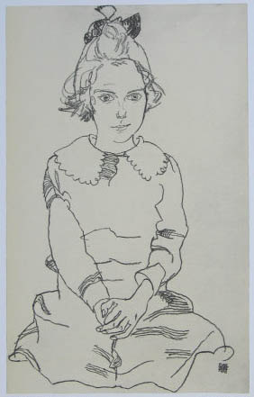 "Schiele Egon, 60, Lithograph""Seated Girl 'Maria Steiner"" 1968"