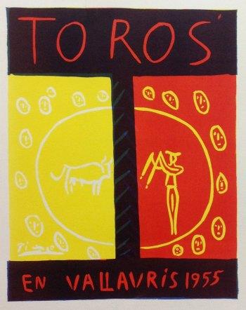 Picasso Lithograph 74, Toros en Vallaris, Art in posters