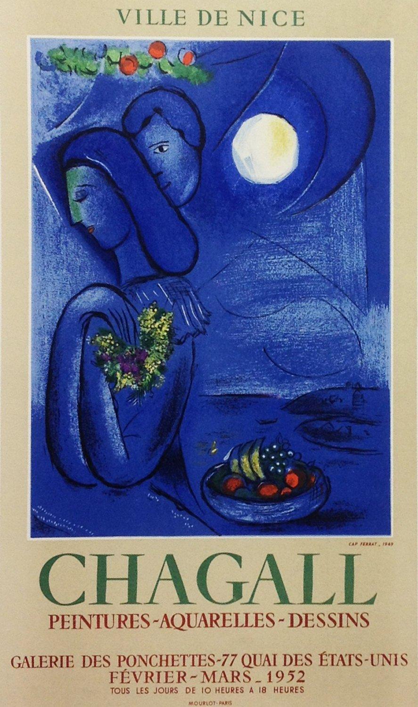 "Chagall 17 ""Ville de Nice"" Art in Posters - Mourlot 1959"
